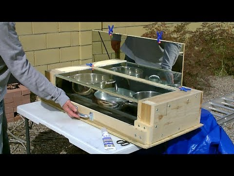 """DIY Advanced Solar Oven! Fully Insulated """"No Turn"""" Solar Oven! (real wood, glass and mirror!) 350F+"""