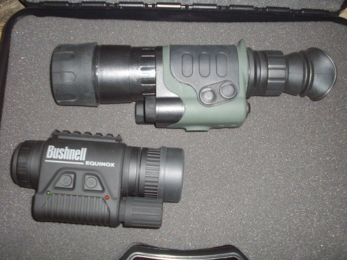 Bushnell GEN 1 monocular and Aeoptics GEN 1 monocular with optional eyepiece for weapons mounting