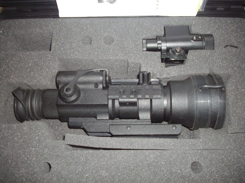 ATN Trident Pro4 GEN 2+ weapons site in case with IR illuminator and tools
