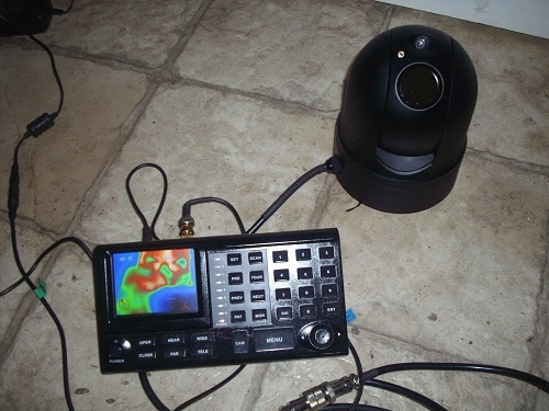 "SPI MD-1 Thermal imaging pod shown with a PTZ controller with a 3.5"" monitor"