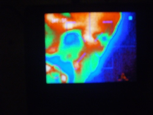 Thermal image face close up, pseudo colors