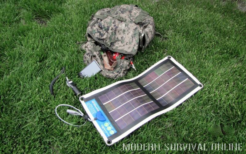 flexible solar-panel next to bug out bag