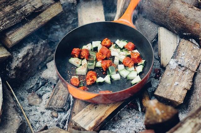 pan on open fire