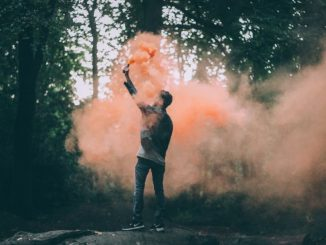 man using a flare