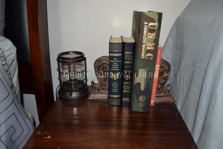 Hidden gun book safe in place