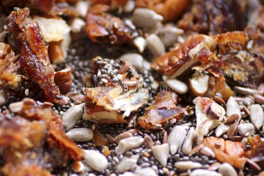 granola bar mix with pecans and chia seeds