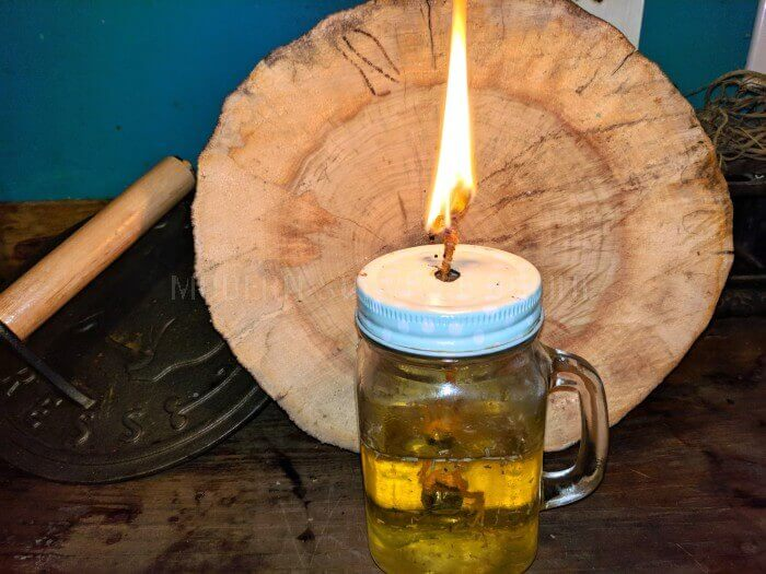 burning DIY oil lamp