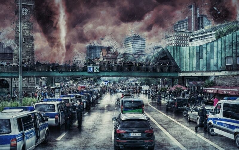 cars leaving city in a disaster