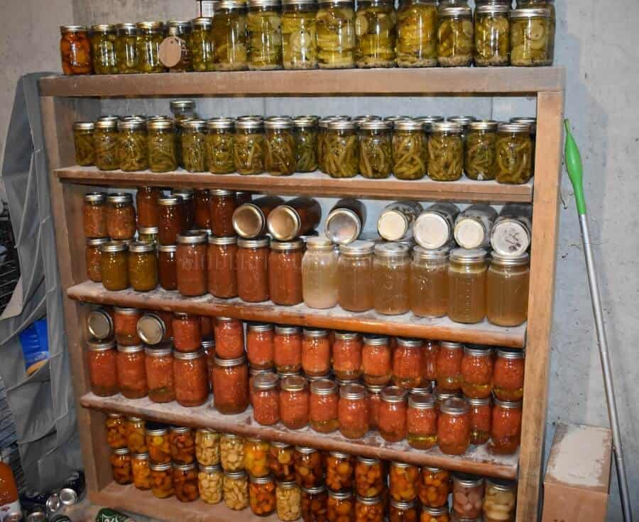 homemade cans of food on shelves
