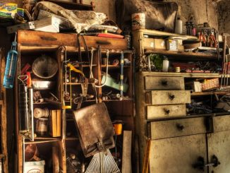 old shed full of supplies