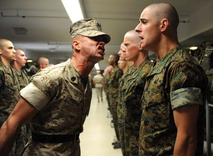 drill sergeant yelling with soldiers