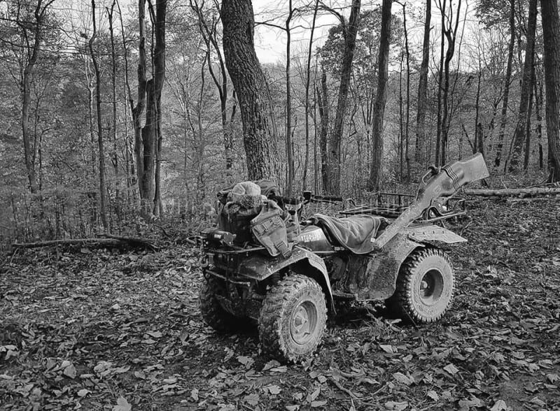 atv in the woods
