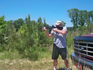 Rourke shooting the M&P-15-22 .22LR