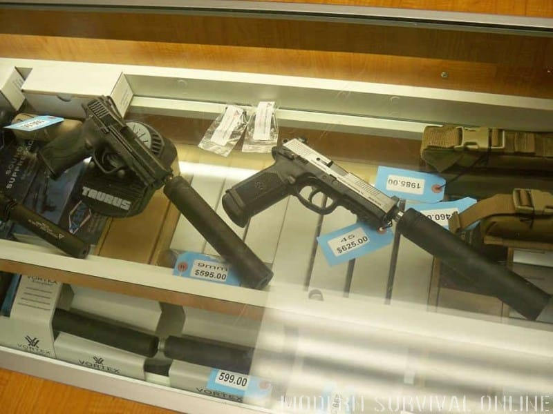 silencers and supressors in gun store