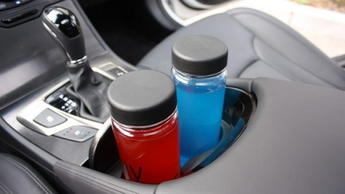 water bottles inside car