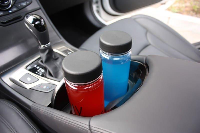 water bottles inside car