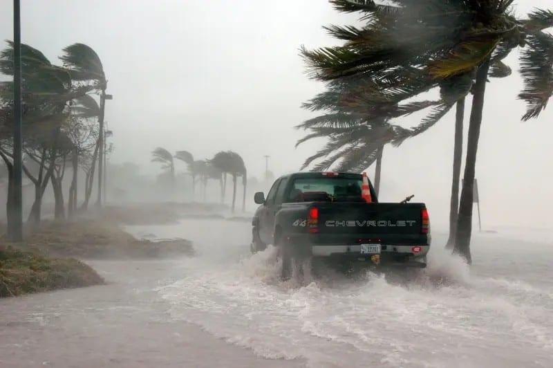 pickup truck amid hurricane