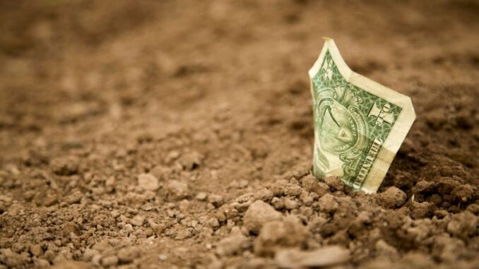 dollar bill in the ground