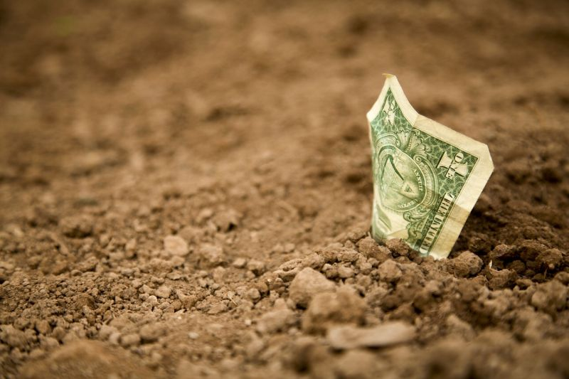 dollar bill half-buried in the ground