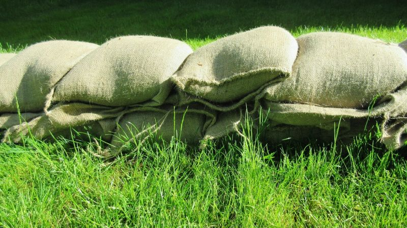 sand bags on grass