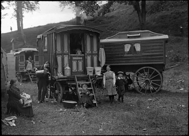 family and caravan