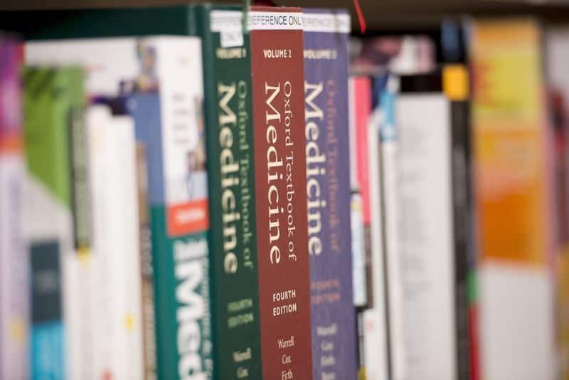 medical books on bookshelf