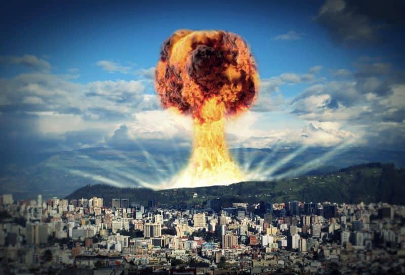 nuclear explosion near city
