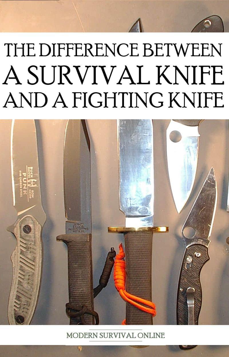 fighting vs. survival knives pinterest image