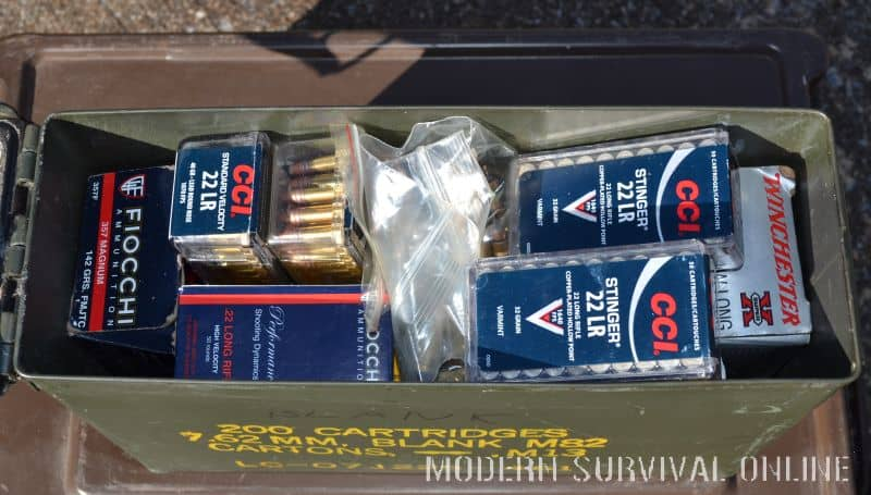 box filled with ammo