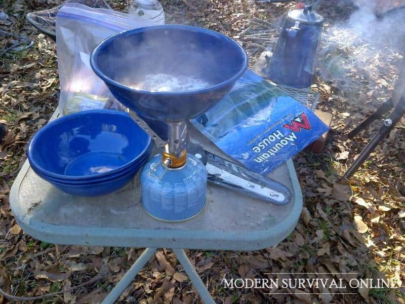 boiling water on small backpacking stove