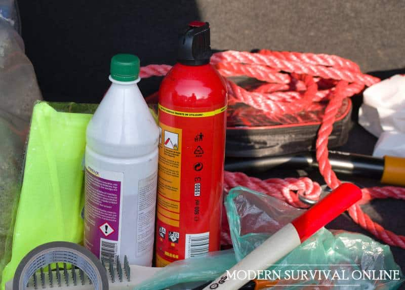 fire extinguisher and antifreeze in car trunk