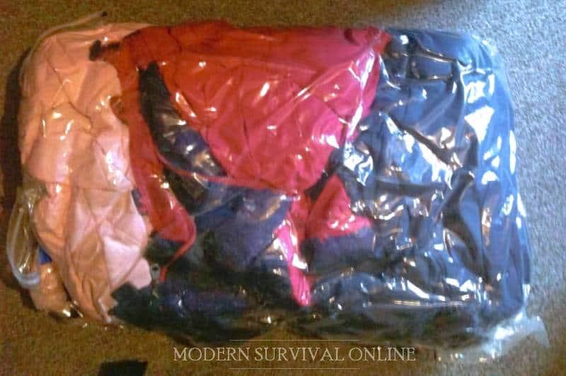 clothes in vacuum bag