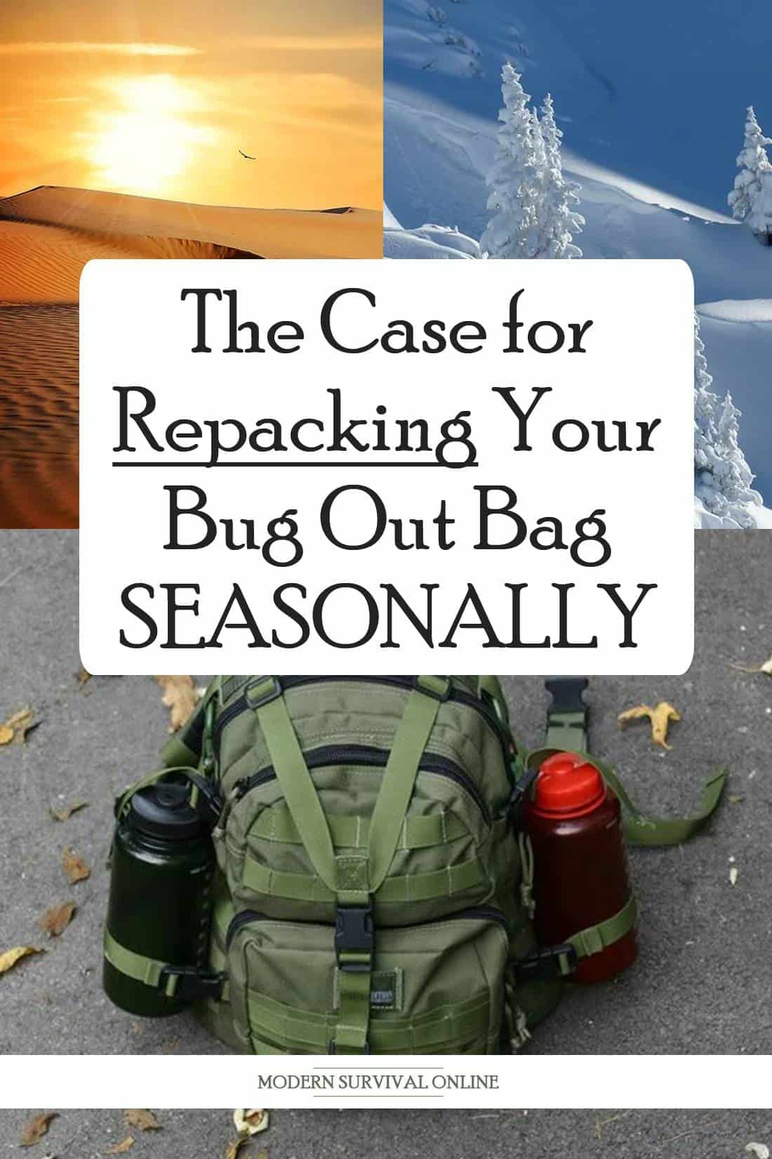 seasonal bug out bags pinterest image