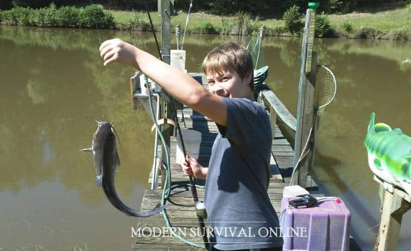 my oldest son caught a fish